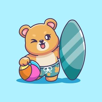 Słodki miś lato ikona ilustracja