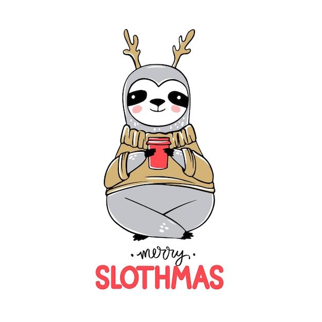 Słodki miś leniwiec z filiżanką kawy, w brzydkim swetrze lub swetrze. wesołych świąt