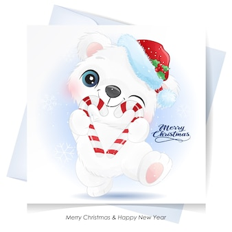Słodki Miś Na Boże Narodzenie Z Kartą Akwareli Premium Wektorów