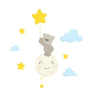 Słodki miś na księżycu, trzymając balon gwiazda