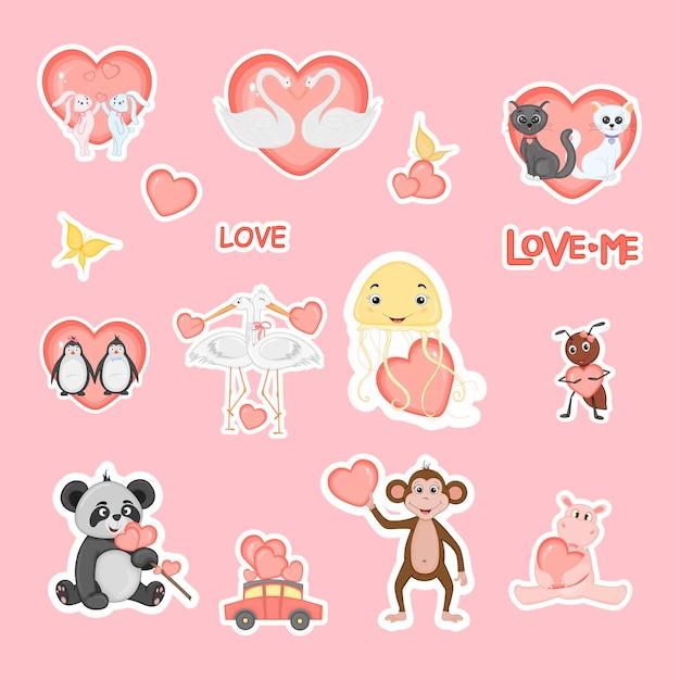 Słodki miś na rowerze z sercami na walentynki w stylu cartoon. napis miłość. naklejki.