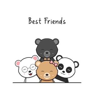 Słodki miś najlepsi przyjaciele pozdrowienie kreskówka doodle karta ikona ilustracja płaski styl kreskówki