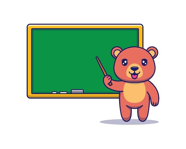 Słodki miś nauczający z tablicą