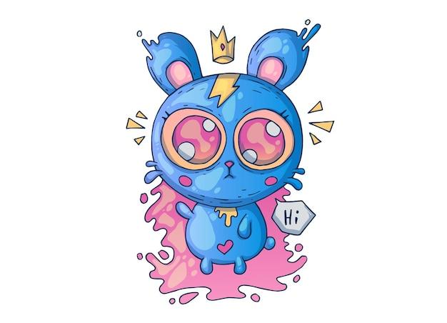 Słodki miś niebieski z dużymi oczami. ilustracja kreatywnych kreskówek.