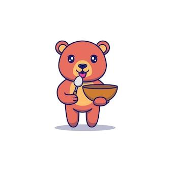 Słodki miś niosący łyżkę i miskę