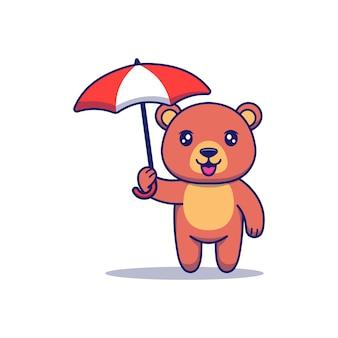 Słodki miś niosący parasol