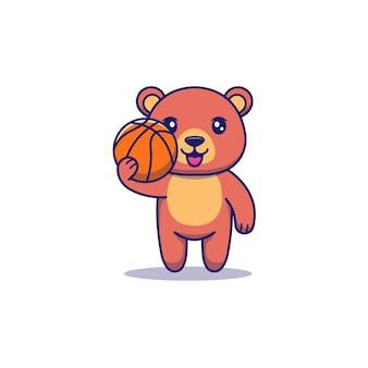 Słodki miś niosący piłkę do koszykówki
