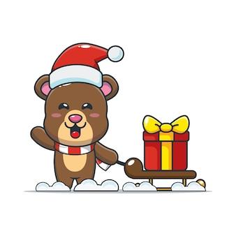 Słodki miś niosący świąteczny prezent śliczna świąteczna ilustracja kreskówka
