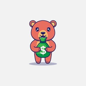 Słodki miś niosący torbę pieniędzy