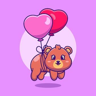 Słodki miś noworodek pływający z balonem w kształcie serca