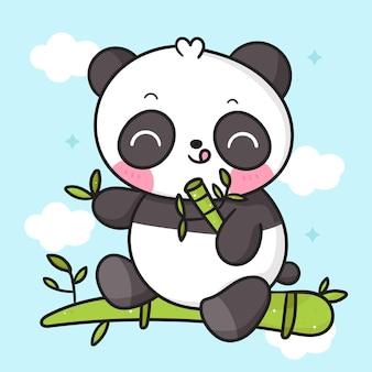 Słodki miś panda kreskówka jedzący bambusowe zwierzę kawaii