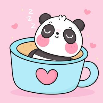 Słodki miś panda kreskówka słodki sen w filiżance kawy kawaii zwierzę