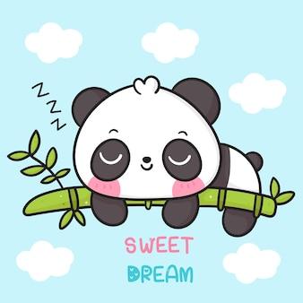 Słodki miś panda kreskówka spać na bambusowym dobranoc kawaii zwierzę