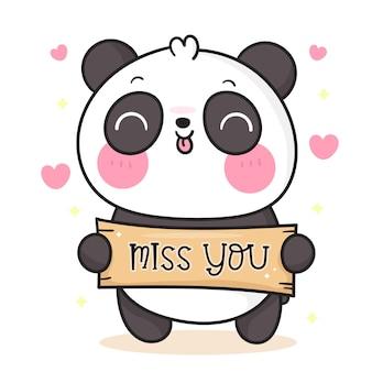 Słodki miś panda kreskówka trzyma tęsknię za tobą etykietę