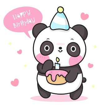 Słodki miś panda kreskówka trzyma tort urodzinowy kawaii zwierzę