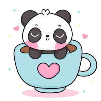 Słodki miś panda kreskówka w filiżance kawy kawaii zwierzę