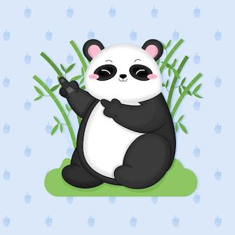 Słodki miś panda pokazujący symbol fuck you