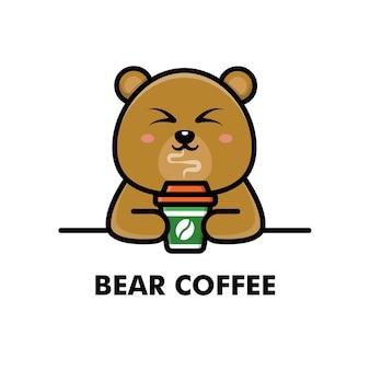 Słodki miś pić filiżankę kawy kreskówka zwierzę logo ilustracja kawa