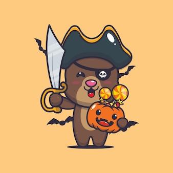 Słodki miś piraci z mieczem niosący halloweenową dynię słodka halloweenowa ilustracja kreskówka