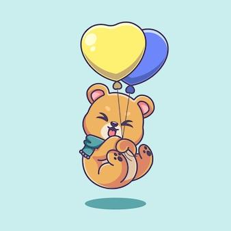 Słodki miś pływający z balonową kreskówką