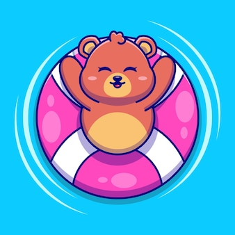 Słodki miś pływający z kreskówką z pierścieniem do pływania