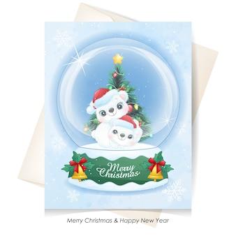 Słodki miś polarny grający wewnątrz ilustracji kuli ziemskiej śniegu
