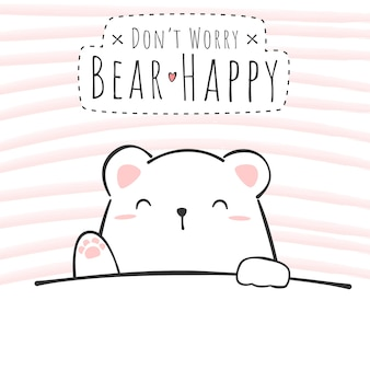 Słodki miś polarny kreskówka doodle kartkę z życzeniami