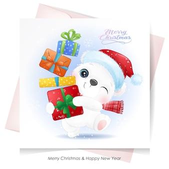 Słodki Miś Polarny Na Boże Narodzenie Z Kartą Akwareli Premium Wektorów