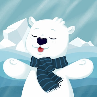 Słodki miś polarny na północy.