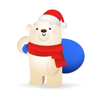 Słodki miś polarny niosący prezenty świąteczne