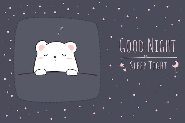 Słodki miś polarny śpi kreskówka doodle dobranoc tapeta