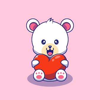 Słodki miś polarny trzymając miłość serca ilustracja. niedźwiedź polarny maskotka zwierzęta kreskówka znaków ikona koncepcja na białym tle.