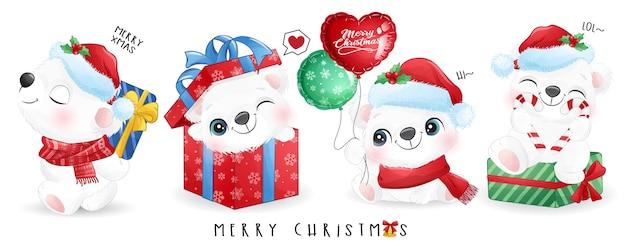 Słodki miś polarny ustawiony na boże narodzenie z banerem akwarela