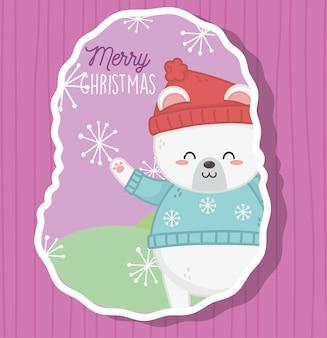 Słodki miś polarny z czapką i swetrem płatki śniegu wesołych świąt