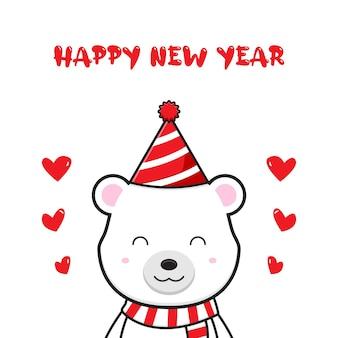 Słodki miś pozdrowienie szczęśliwego nowego roku kreskówka doodle karta tło ilustracja płaski styl kreskówki