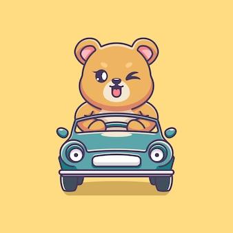 Słodki miś prowadzący kreskówkę samochodu