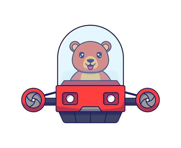 Słodki miś prowadzący pojazd latający