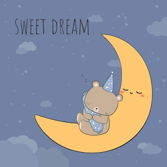 Słodki miś przytula wałek podczas snu na księżycu z kartą doodle kreskówka cytat słodkich snów