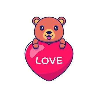 Słodki miś przytulający balon miłości