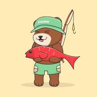 Słodki miś rybak z wędką i kapeluszem