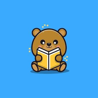 Słodki miś siedzieć czytanie książki ilustracja kreskówka