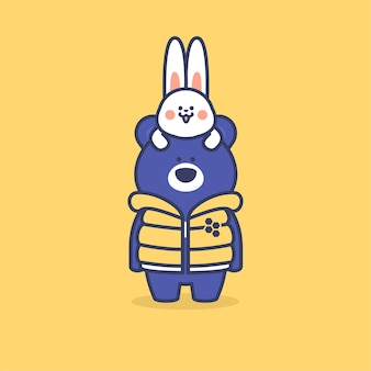 Słodki miś słoneczny na sobie żółtą kurtkę i małego królika
