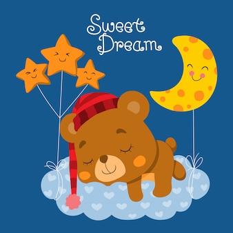 Słodki miś śpi na chmurze.