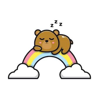 Słodki miś śpi na ilustracji kreskówki tęczy