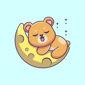 Słodki miś śpi na kreskówce księżyca