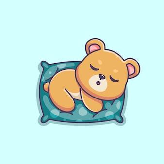 Słodki miś śpiący na poduszce kreskówka