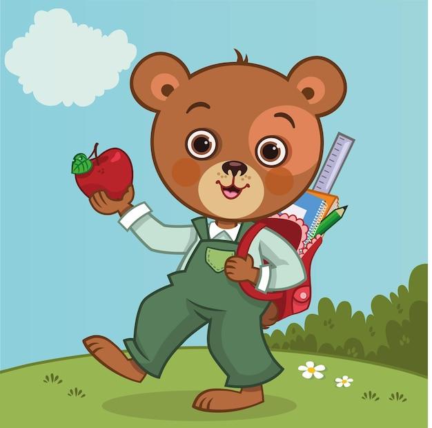 Słodki miś studencki z torbą na plecy ilustracja wektorowa