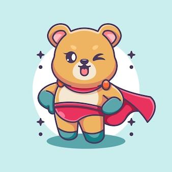 Słodki miś super bohater kreskówki