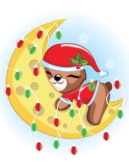 Słodki miś świąteczny śpi na księżycu z lampką. ilustracja słodkiego misia.