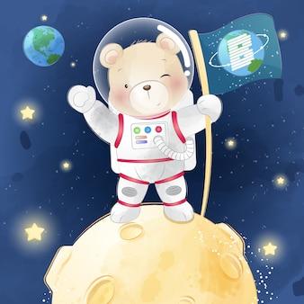 Słodki miś trzyma flagę na księżycu